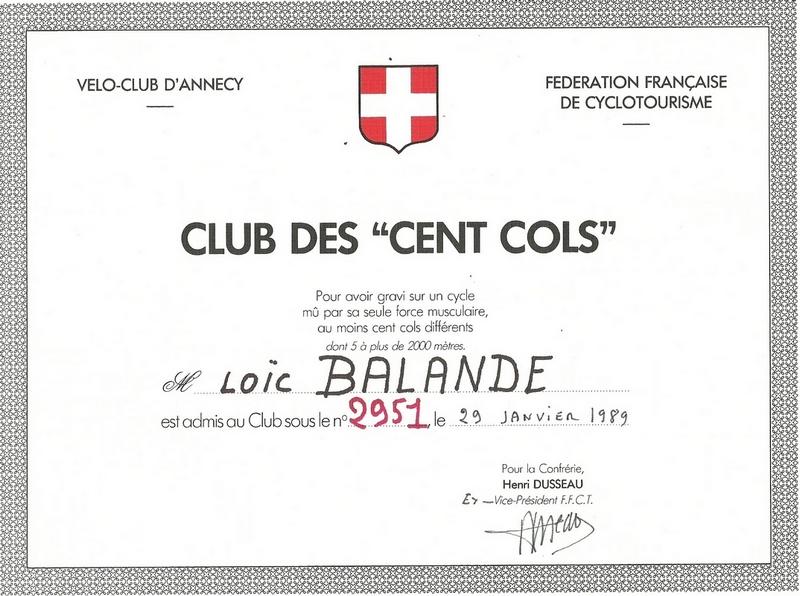 adhésion au club des 100 cols